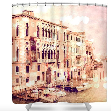 Venice Italy Romantic Hearts Polyester Shower Curtain