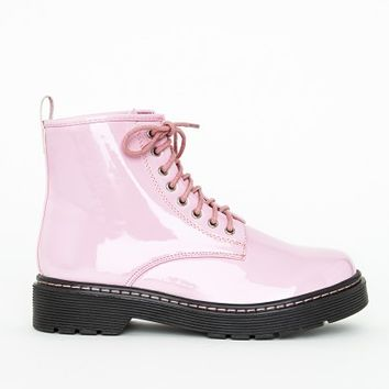 Missguided - Lace Up Rubber Sole Boots Patent Pink