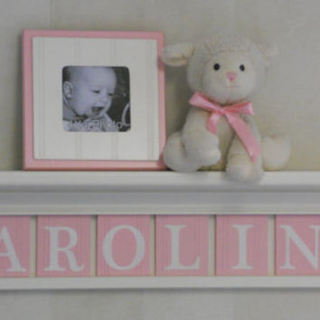 "Wooden Letter Baby Girl - Wooden Name Signs Nursery Decor 30"" Shelf Linen Off White with 8 Wooden Wall Letters in Pastel Pink - CAROLINE"