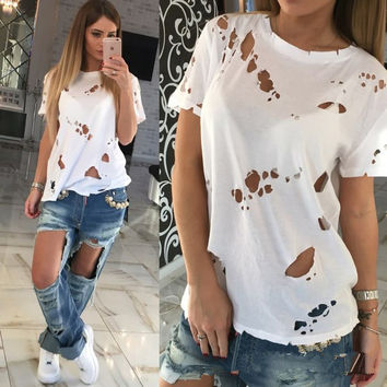 2017 Summer Womens Sexy Ladies T-shirts Tee Tops [10627837327]