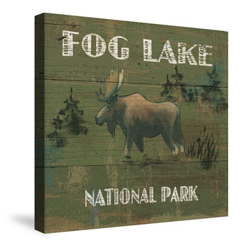 Lodge Signs VI (Fog Lake) Canvas Wall Art