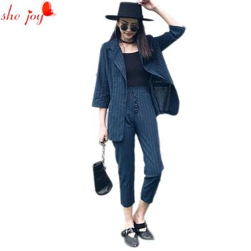 Office Ladies Stripe Blazer + Pants 2pc Set Suit for Women Leisure Blazers Suits Women's Clothings Work Wears Twinset Tracksuit