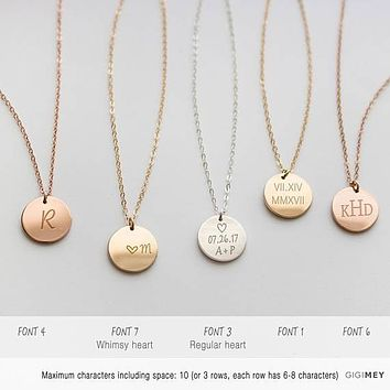 Initial necklace, circle necklace, Custom