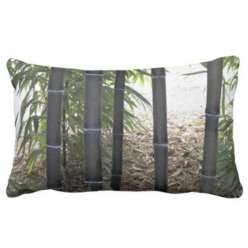 Black Bamboo Floral Lumbar Pillow