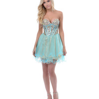 Aqua & Gold Sequin & Tulle Short Dress Prom 2015