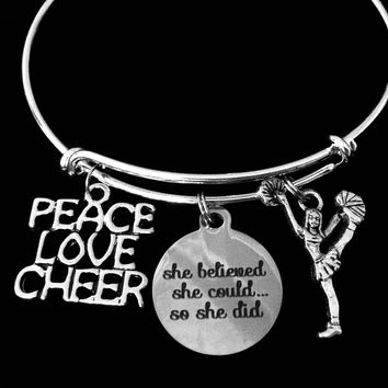 Love Peace Cheer Expandable Charm Bracelet Cheerleader Jewelry She Believed She Could Silver Adjustable Wire Bangle Gift