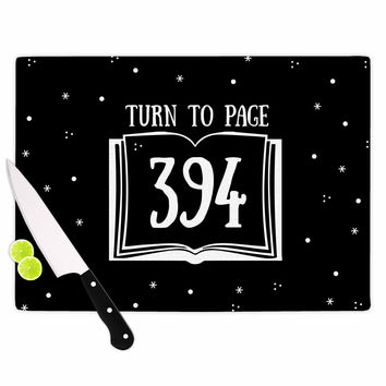 "Jackie Rose ""Turn To Page 394"" Black Pop Art Cutting Board"