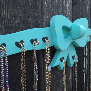 Wood Teal Colored Bow Tie Jewelry Display