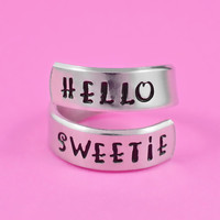 HELLO SWEETIE - Hand Stamped Aluminum Spirl Ring, Doctor Who Inspired Ring, Dr. Who The Doctor Fan Ring, Sculptor Font Version