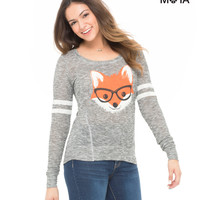Aeropostale Womens Smarty Fox Hi-Lo Sweater - Black,