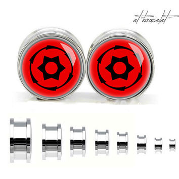 Hokage Ninjia sharingan stainless steel ear gauge, silvery tunnel plugs,Stainless Steel Screw Ear Gauges,guage earrings