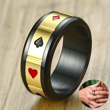 Mens Black Poker Gambling Spinner Ring in Stainless Steel Two Tone Wedding Band Lucky Pokerstars Male Jewelry