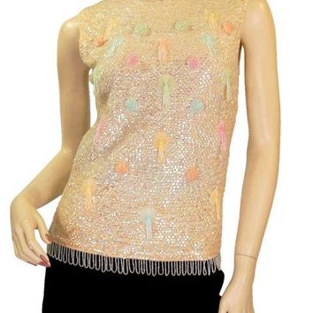 Vintage 1950'S Sequined Sweater Shell Pastel Beads Hong Kong  S