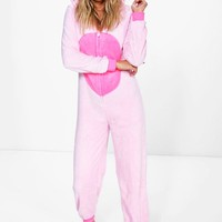 Neve Flamingo Hooded Fleece Onesuit | Boohoo