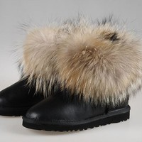 Best Online Sale Ugg Fox Fur 5854 Metallic Classic Mini Black Boot Snow Boots #6