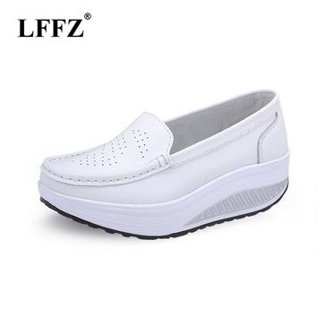 LFFZ Spring Summer Women Flat Platform Shoes Woman White Nursing Shoes Cut-out Loafers Slip on Moccasins Shoes woman ST197
