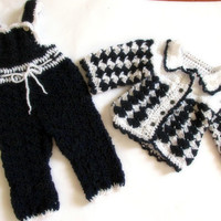 Crochet baby overall and sweater baby boy pants jacket navy blue white boy clothes baby boy coming home outfit newborn clothes blue clothes