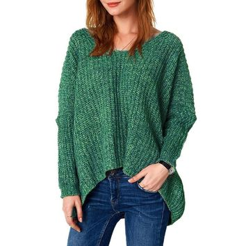 Plus Size Knit V-neck Long Sleeve Pullover Tops [11275919623]