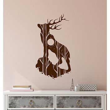 Vinyl Wall Decal Abstract Tree Forest Deer Silhouette Nature Stickers (4008ig)