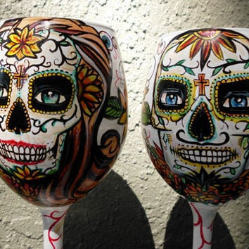 Day of the Dead Hand painted wine glass set Made by artsyleenies