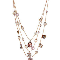 Betsey Johnson Pearl and Charm Illusion Necklace - Rgld/Prl