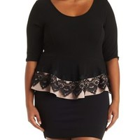 Plus Size Black Combo Dress with Lace Peplum by Charlotte Russe