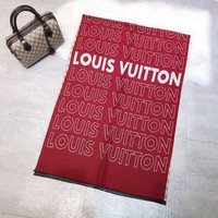 Louis Vuitton LV Women Fashion New Monogram Letter Print Comfortable Warm Scarf Red