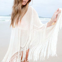 White Knit Fringed Poncho Beachwear