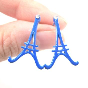 Large Eiffel Tower Shaped Paris France Travel Stud Earrings in Blue