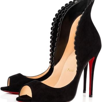 Christian Louboutin PIJONINA Scalloped Suede Peep Toe Heel Pump Shoes Black $895