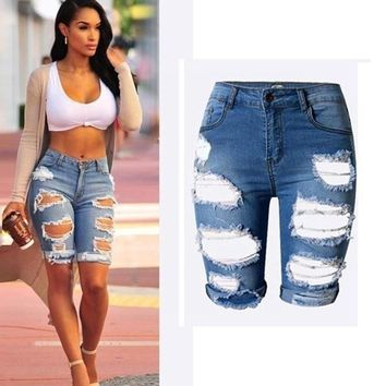 Hot Shorts Fashion Ladies Denim Stretch Ripped Hole Washed Destroyed Draped Summer High Waist Bodycon Skinny Causal Distressed Jeans AT_43_3