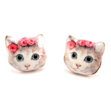 White Kitty Cat With a Floral Headdress Shaped Stud Earrings