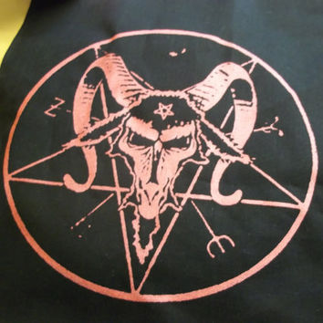 Satanic Baphomet Back patch with red ink