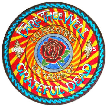 Grateful Dead celebrating Golden Rose 50 years Fare Thee Well Patch psychedelic cult music