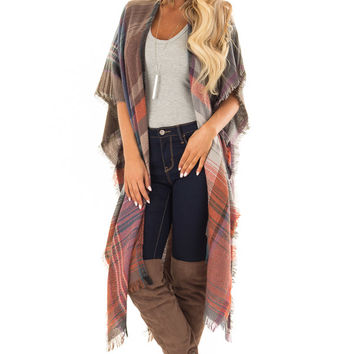 Rust and Mocha Plaid Long Cardigan with Frayed Detail
