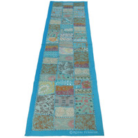Blue India Handmade Old Patchwork Runner Tapestry