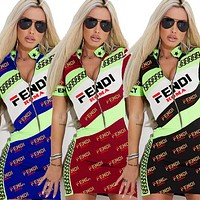 Fendi New fashion more letter print women contrast color shorts sleeve dress