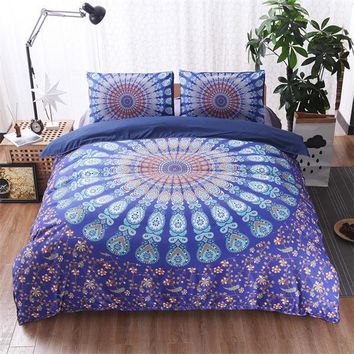 BEST.WENSD 3PCS Family Kids Bed Linens Microfiber Fabric High Quality The Bohemian Style Bedding Set For 1or2 Person Duvet Cover