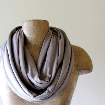 Driftwood Infinity Scarf  Taupe Loop Scarf  Lightweight by EcoShag