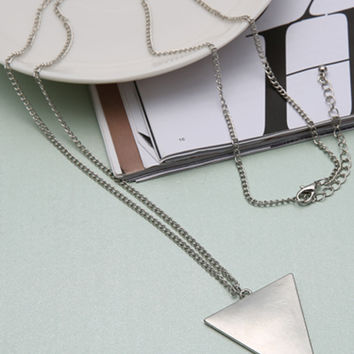 Silver Triangle Shape Chain Necklace
