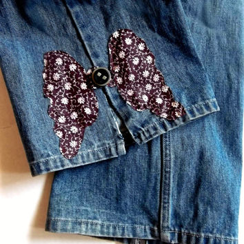 Jeans Boho Faded Denim Studded low riders. Hip Huggers. Vintage 80s. Grunge. Patched. Shabby Eco Chic Jeans