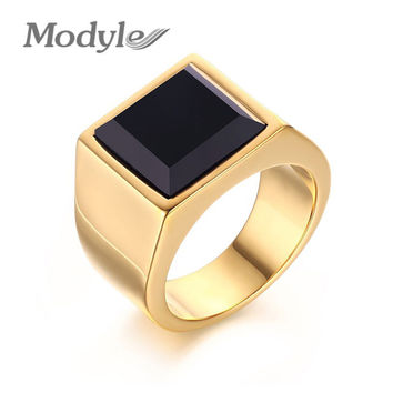 Black Stone Wedding Bands Rings for Men Punk Gold-Color Engagement Ring Large Stone Ring