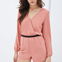 Puff-Sleeve Surplice Romper