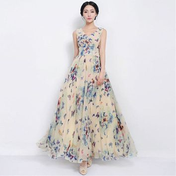 Sexy Women Summer Dress Maxi Long Chiffon Beach Dresses Loose Casual Butterfly Printed Dress Slim Brand Vestidos PlusSize XXXL
