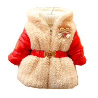 Infant Winter Jackets for Girls Baby Girls Clothes Plush PULeather Cotton-padded Clothing Cute Girl Hoodies Children's Jackets