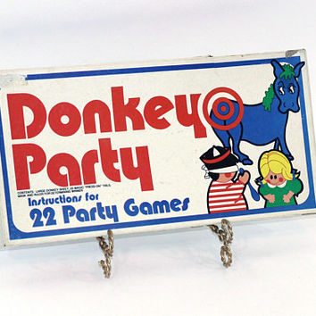 Donkey Party | Pin the Tail on the Donkey Game + 22 Party Game Ideas | Vintage Boxed Game for Kids | 2 Donkey Posters , Donkey Tails
