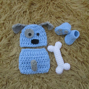 Newborn Puppy Outfit Baby Puppy Dog Hat Baby Boy Puppy Hat Crochet Puppy Outfit Newborn Boy Photo Prop Baby Boy Clothes Newborn Boy Hat