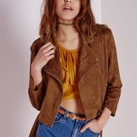 Missguided - Faux Suede Biker Jacket Tan