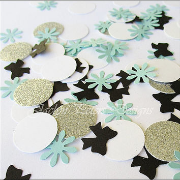 Party Confetti, Tiffany Inspired, Bows And Dots, Aqua, Black, White, Silver Glitter, Wedding Decor, Bridal Shower Supply, Set Of 200 Pieces