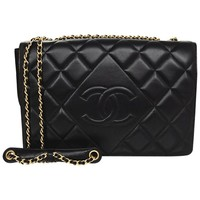 Chanel Black Quilted Lambskin Leather Diamond CC Medium Flap Bag rt. $4,000